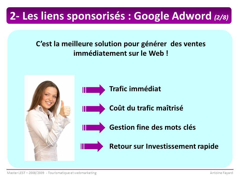 Master LEST – 2008/2009 - Tourismatique et webmarketingAntoine Fayard C'est la meilleure solution pour générer des ventes immédiatement sur le Web .