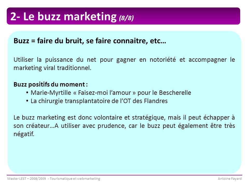 Master LEST – 2008/2009 - Tourismatique et webmarketingAntoine Fayard 2- Le buzz marketing (8/8) Buzz = faire du bruit, se faire connaitre, etc… Utiliser la puissance du net pour gagner en notoriété et accompagner le marketing viral traditionnel.