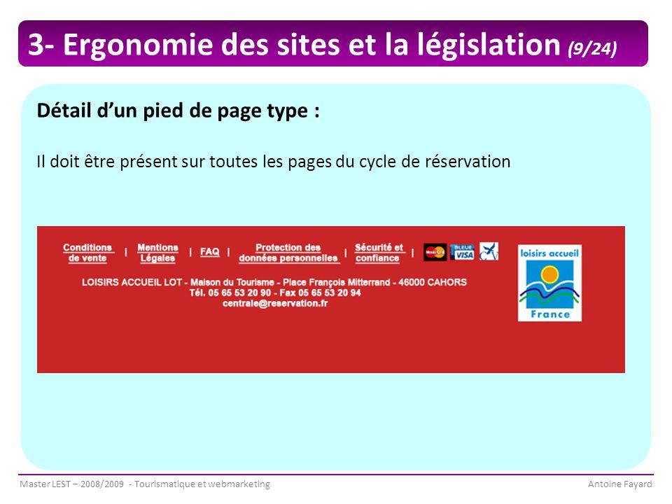 Master LEST – 2008/2009 - Tourismatique et webmarketingAntoine Fayard Détail d'un pied de page type : Il doit être présent sur toutes les pages du cycle de réservation 3- Ergonomie des sites et la législation (9/24)