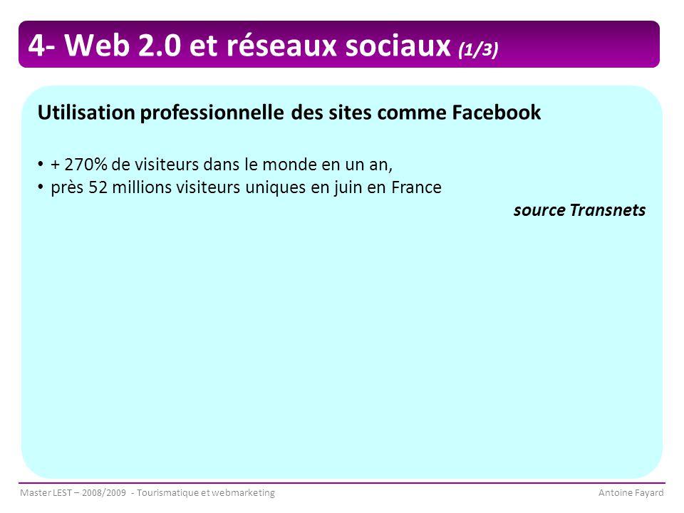 Master LEST – 2008/2009 - Tourismatique et webmarketingAntoine Fayard Utilisation professionnelle des sites comme Facebook + 270% de visiteurs dans le monde en un an, près 52 millions visiteurs uniques en juin en France source Transnets 4- Web 2.0 et réseaux sociaux (1/3)