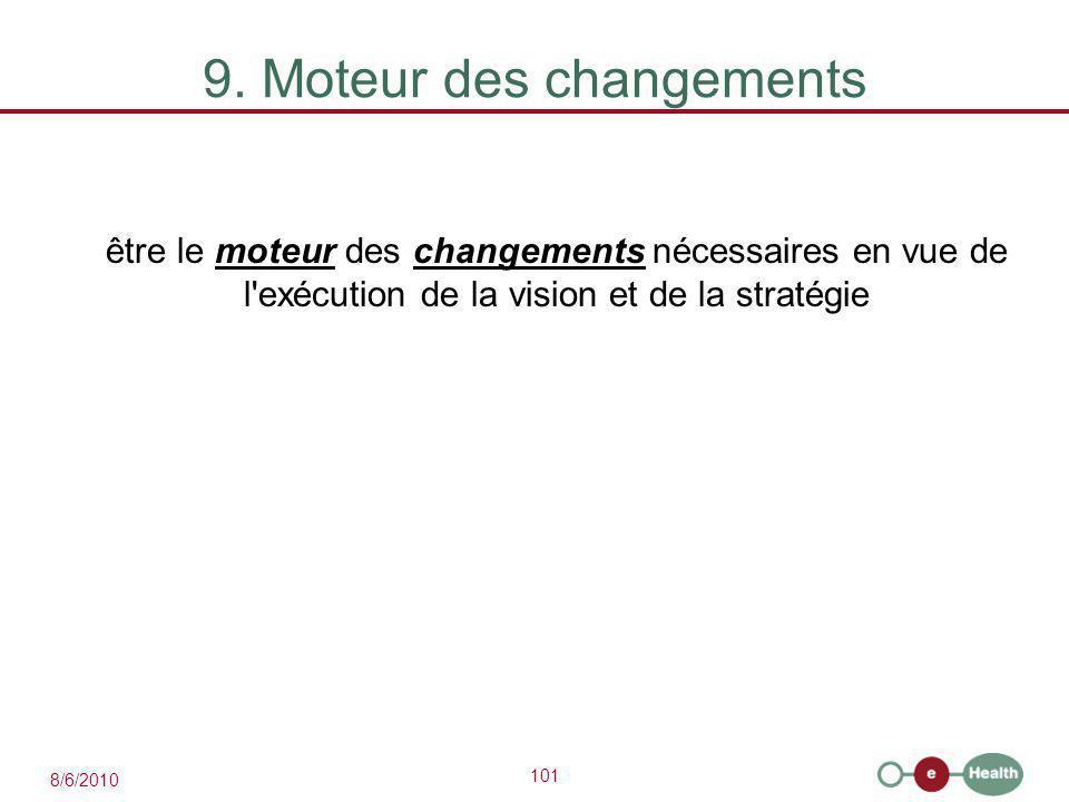 101 8/6/2010 9. Moteur des changements être le moteur des changements nécessaires en vue de l'exécution de la vision et de la stratégie