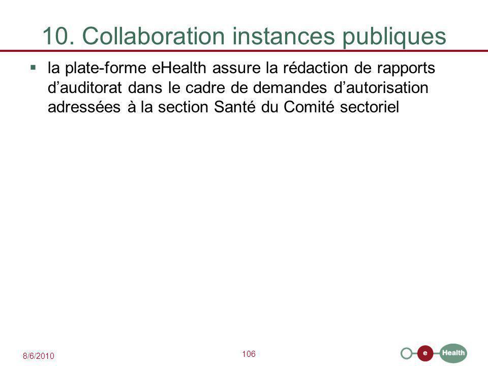 106 8/6/2010 10. Collaboration instances publiques  la plate-forme eHealth assure la rédaction de rapports d'auditorat dans le cadre de demandes d'au