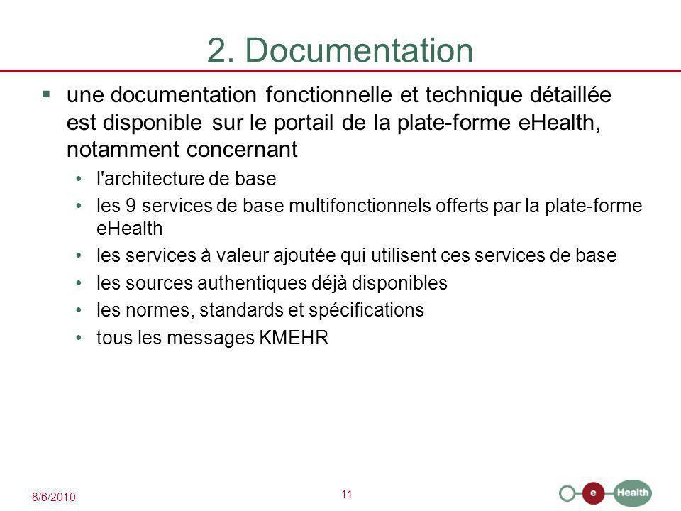 11 8/6/2010 2. Documentation  une documentation fonctionnelle et technique détaillée est disponible sur le portail de la plate-forme eHealth, notamme