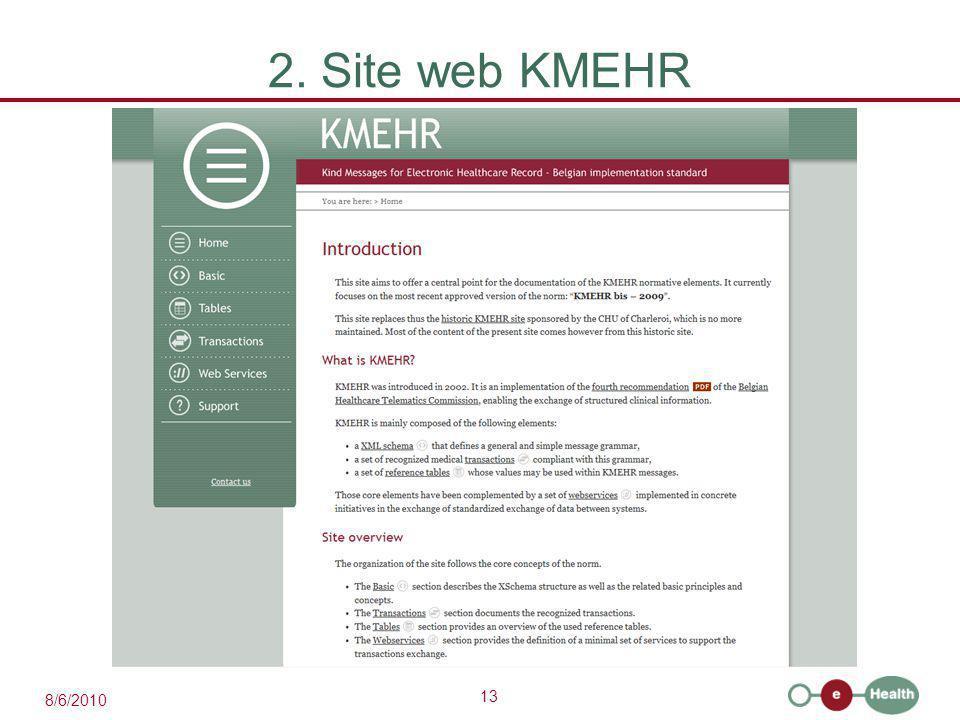 13 8/6/2010 2. Site web KMEHR