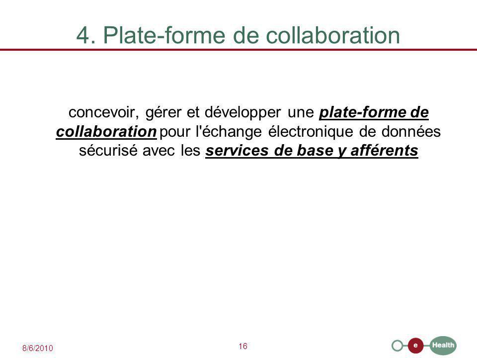 16 8/6/2010 4. Plate-forme de collaboration concevoir, gérer et développer une plate-forme de collaboration pour l'échange électronique de données séc