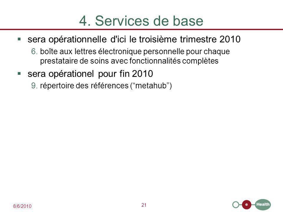 21 8/6/2010 4. Services de base  sera opérationnelle d'ici le troisième trimestre 2010 6.boîte aux lettres électronique personnelle pour chaque prest