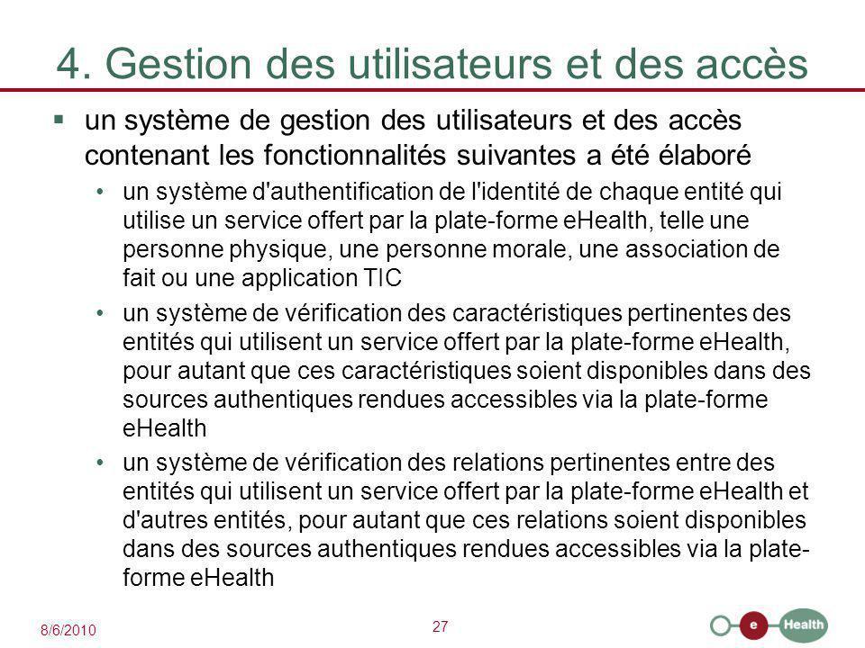 27 8/6/2010 4. Gestion des utilisateurs et des accès  un système de gestion des utilisateurs et des accès contenant les fonctionnalités suivantes a é