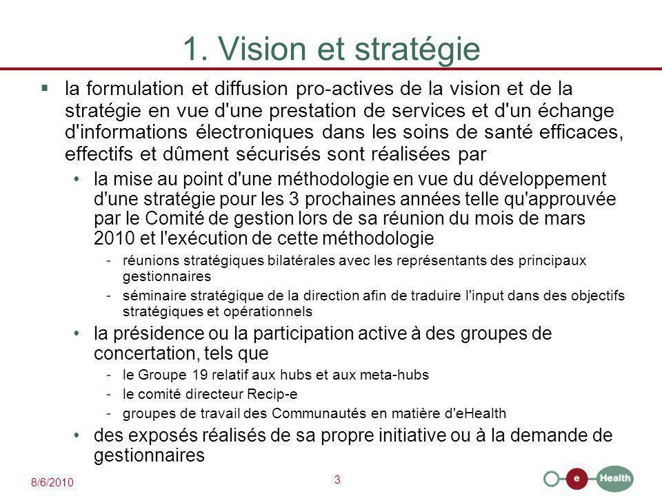 3 8/6/2010 1. Vision et stratégie  la formulation et diffusion pro-actives de la vision et de la stratégie en vue d'une prestation de services et d'u
