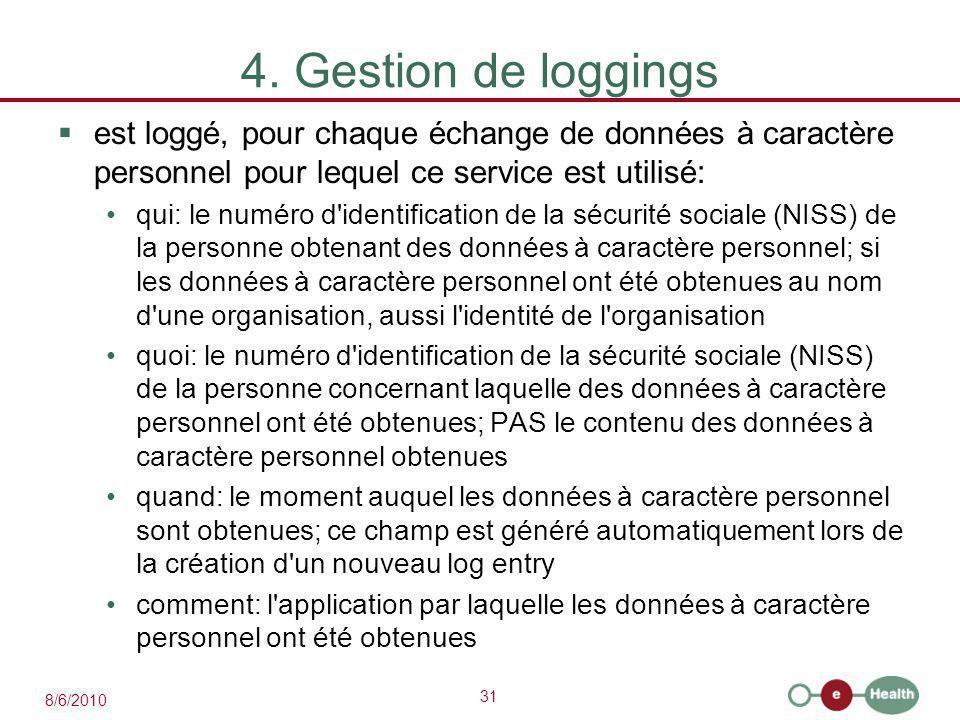 31 8/6/2010 4. Gestion de loggings  est loggé, pour chaque échange de données à caractère personnel pour lequel ce service est utilisé: qui: le numér
