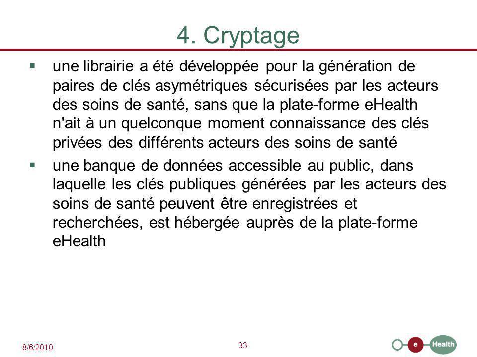 33 8/6/2010 4. Cryptage  une librairie a été développée pour la génération de paires de clés asymétriques sécurisées par les acteurs des soins de san