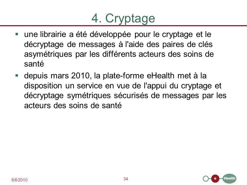 34 8/6/2010 4. Cryptage  une librairie a été développée pour le cryptage et le décryptage de messages à l'aide des paires de clés asymétriques par le