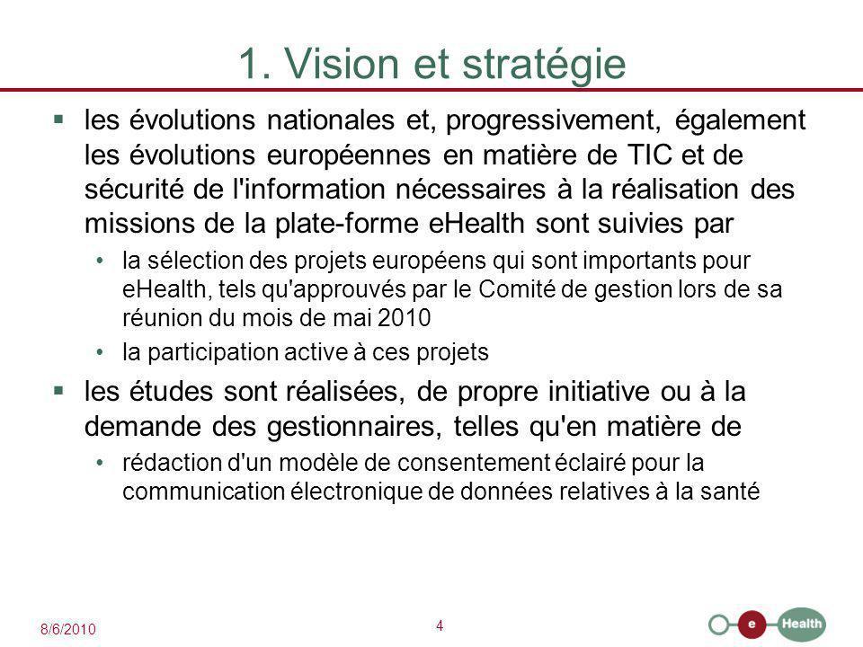 4 8/6/2010 1. Vision et stratégie  les évolutions nationales et, progressivement, également les évolutions européennes en matière de TIC et de sécuri