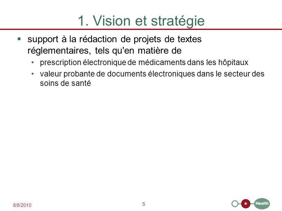5 8/6/2010 1. Vision et stratégie  support à la rédaction de projets de textes réglementaires, tels qu'en matière de prescription électronique de méd