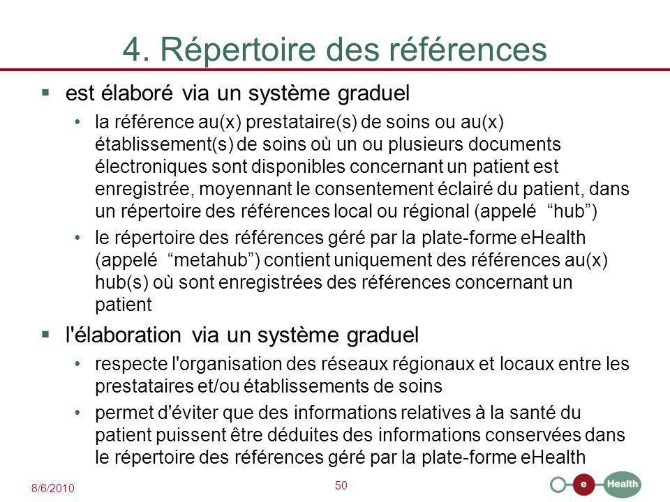 50 8/6/2010 4. Répertoire des références  est élaboré via un système graduel la référence au(x) prestataire(s) de soins ou au(x) établissement(s) de
