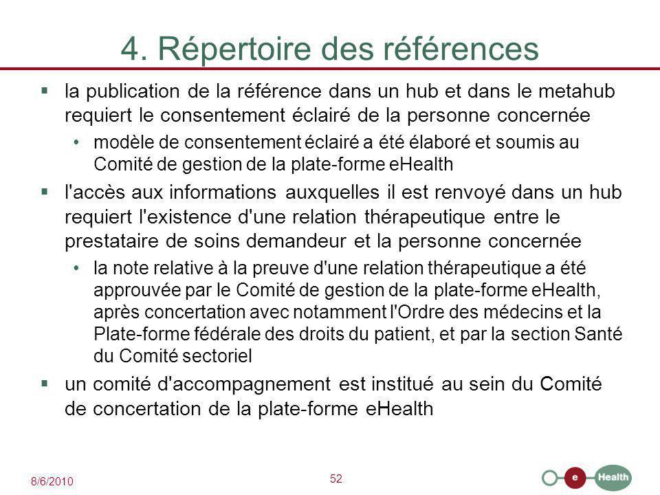 52 8/6/2010 4. Répertoire des références  la publication de la référence dans un hub et dans le metahub requiert le consentement éclairé de la person