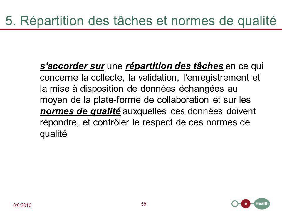 58 8/6/2010 5. Répartition des tâches et normes de qualité s'accorder sur une répartition des tâches en ce qui concerne la collecte, la validation, l'