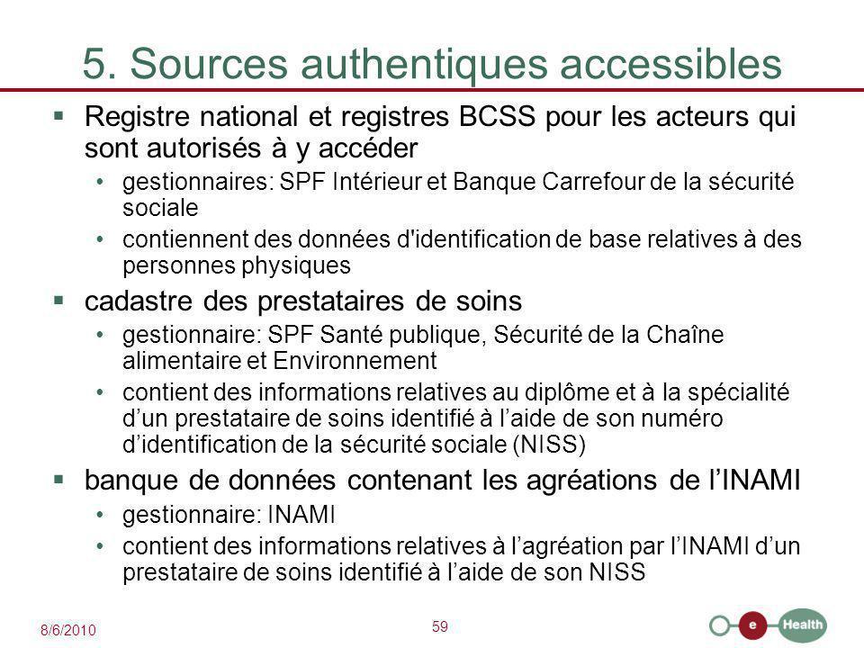59 8/6/2010 5. Sources authentiques accessibles  Registre national et registres BCSS pour les acteurs qui sont autorisés à y accéder gestionnaires: S