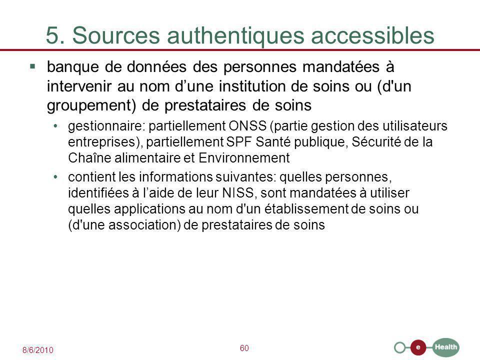 60 8/6/2010 5. Sources authentiques accessibles  banque de données des personnes mandatées à intervenir au nom d'une institution de soins ou (d'un gr