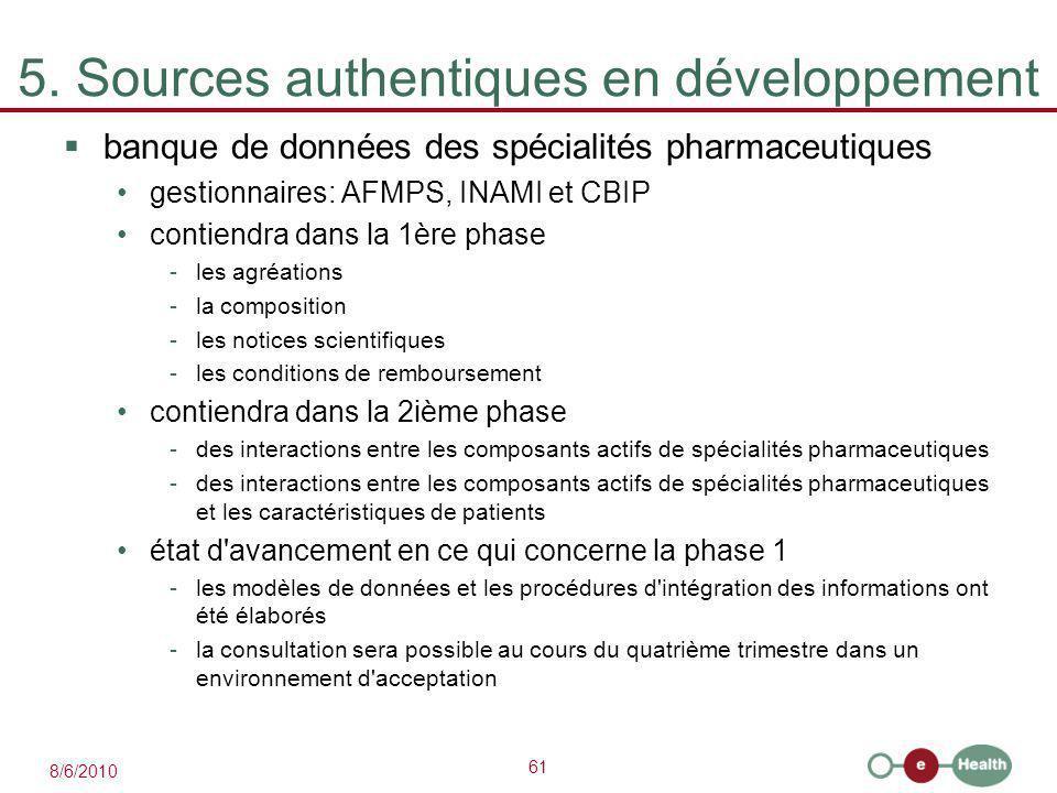 61 8/6/2010 5. Sources authentiques en développement  banque de données des spécialités pharmaceutiques gestionnaires: AFMPS, INAMI et CBIP contiendr