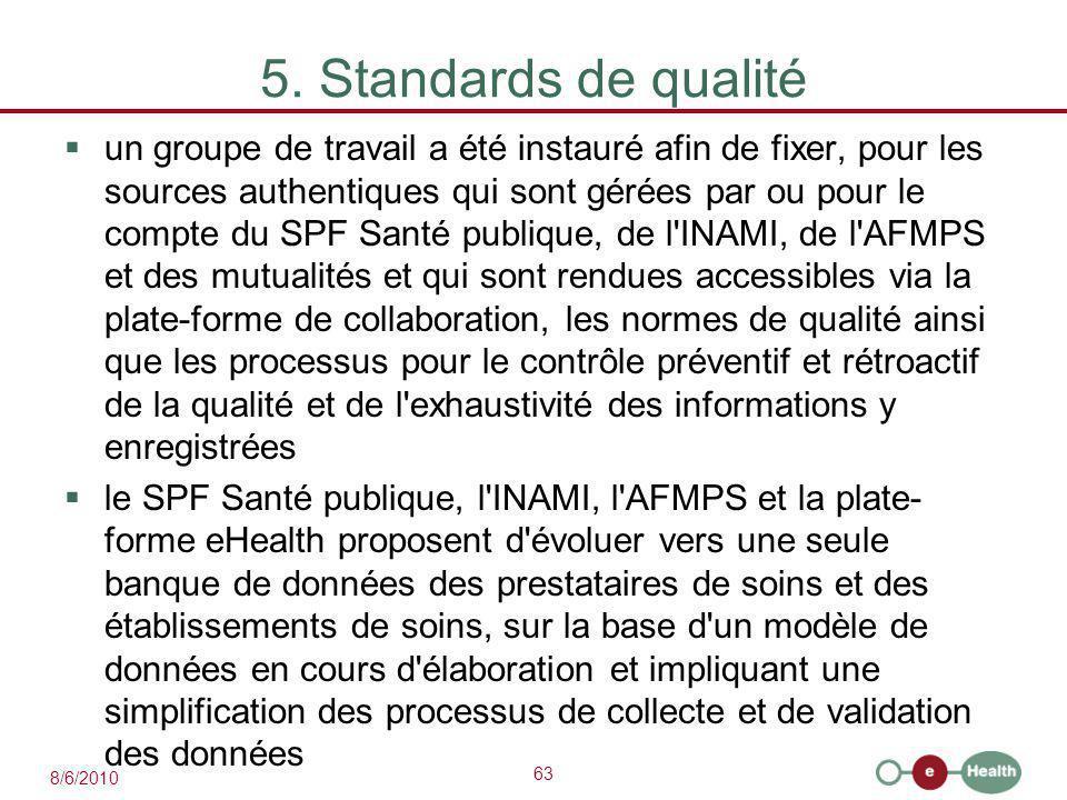 63 8/6/2010 5. Standards de qualité  un groupe de travail a été instauré afin de fixer, pour les sources authentiques qui sont gérées par ou pour le
