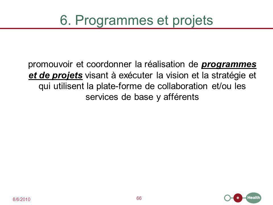 66 8/6/2010 6. Programmes et projets promouvoir et coordonner la réalisation de programmes et de projets visant à exécuter la vision et la stratégie e