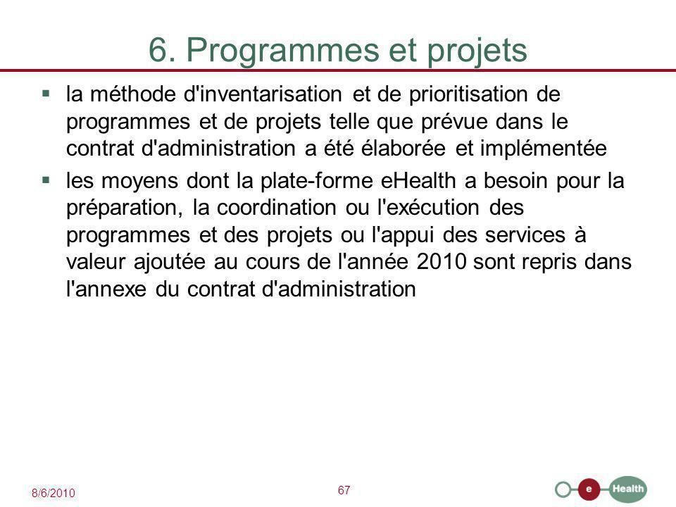 67 8/6/2010 6. Programmes et projets  la méthode d'inventarisation et de prioritisation de programmes et de projets telle que prévue dans le contrat