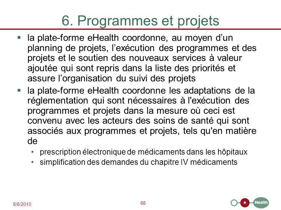 68 8/6/2010 6. Programmes et projets  la plate-forme eHealth coordonne, au moyen d'un planning de projets, l'exécution des programmes et des projets