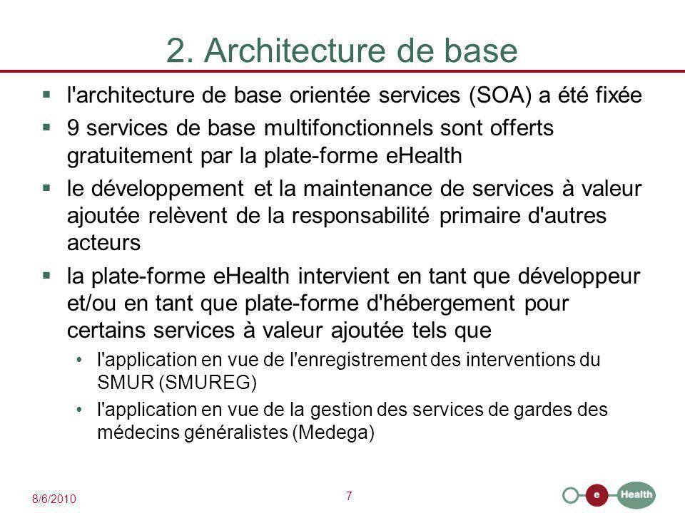 7 8/6/2010 2. Architecture de base  l'architecture de base orientée services (SOA) a été fixée  9 services de base multifonctionnels sont offerts gr