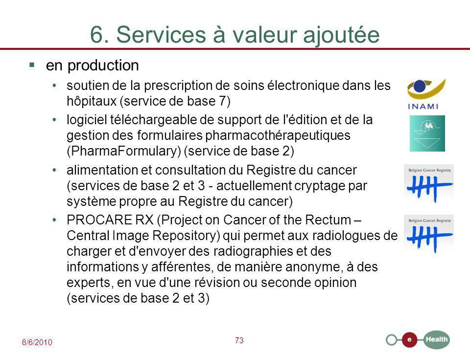 73 8/6/2010 6. Services à valeur ajoutée  en production soutien de la prescription de soins électronique dans les hôpitaux (service de base 7) logici