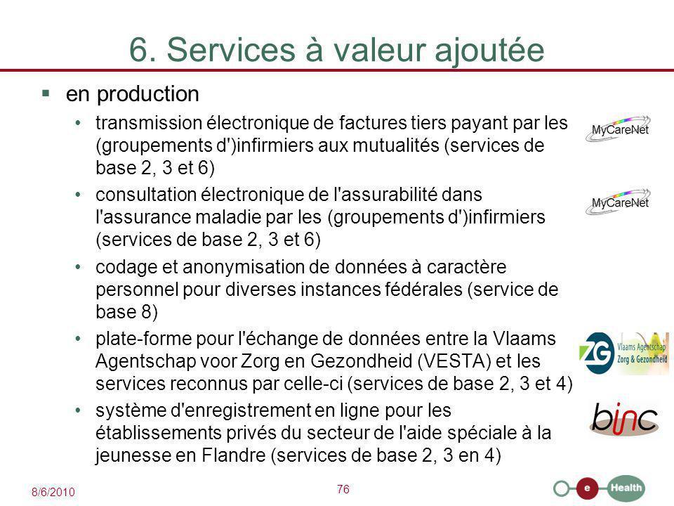 76 8/6/2010 6. Services à valeur ajoutée  en production transmission électronique de factures tiers payant par les (groupements d')infirmiers aux mut