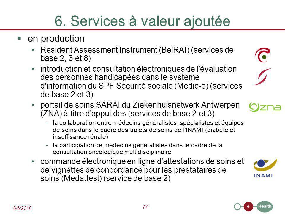 77 8/6/2010 6. Services à valeur ajoutée  en production Resident Assessment Instrument (BelRAI) (services de base 2, 3 et 8) introduction et consulta