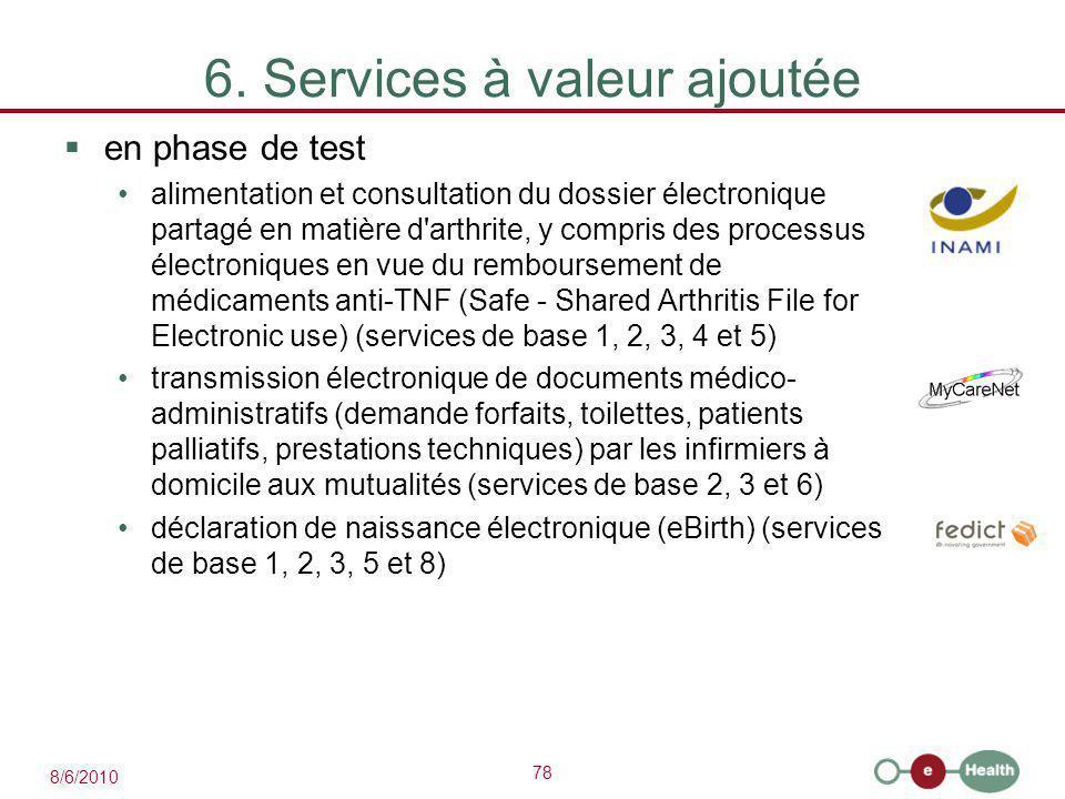 78 8/6/2010 6. Services à valeur ajoutée  en phase de test alimentation et consultation du dossier électronique partagé en matière d'arthrite, y comp