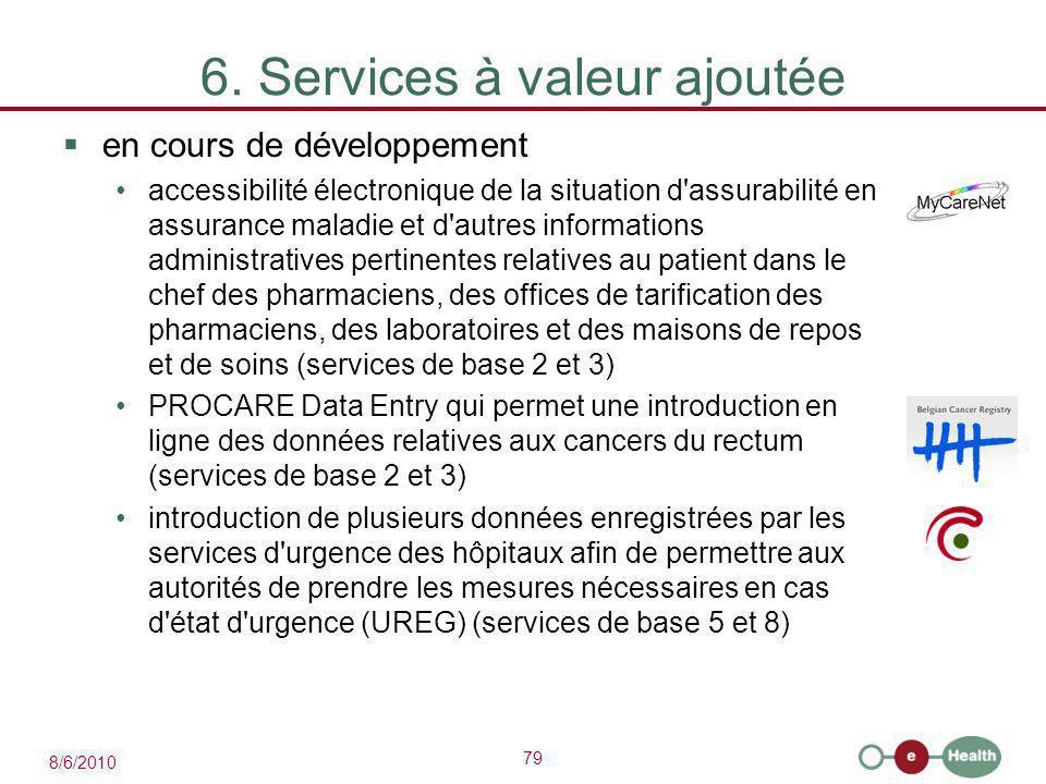 79 8/6/2010 6. Services à valeur ajoutée  en cours de développement accessibilité électronique de la situation d'assurabilité en assurance maladie et