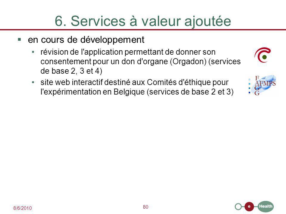 80 8/6/2010 6. Services à valeur ajoutée  en cours de développement révision de l'application permettant de donner son consentement pour un don d'org