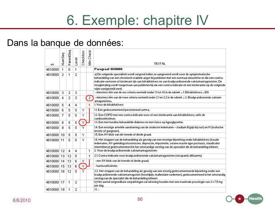 86 8/6/2010 6. Exemple: chapitre IV Dans la banque de données: