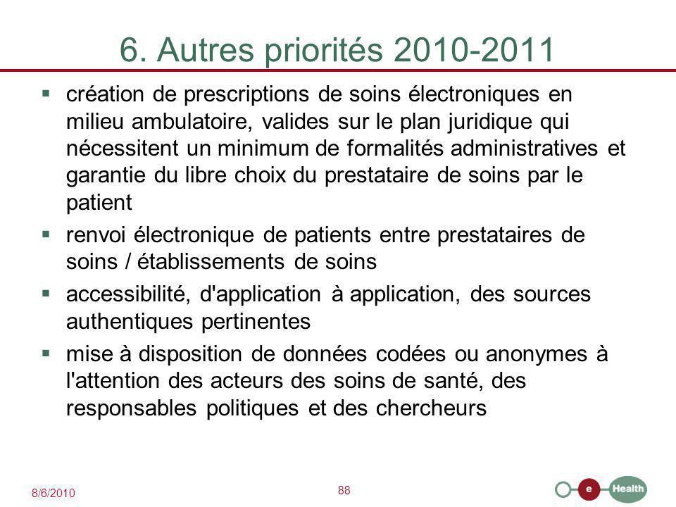 88 8/6/2010 6. Autres priorités 2010-2011  création de prescriptions de soins électroniques en milieu ambulatoire, valides sur le plan juridique qui