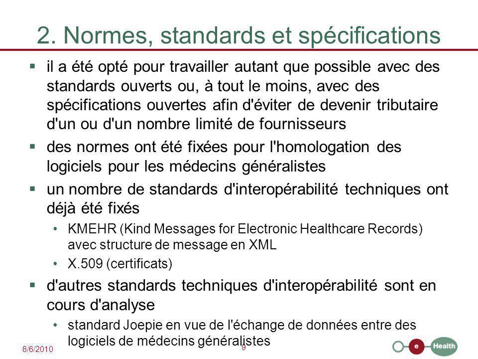 9 8/6/2010 2. Normes, standards et spécifications  il a été opté pour travailler autant que possible avec des standards ouverts ou, à tout le moins,