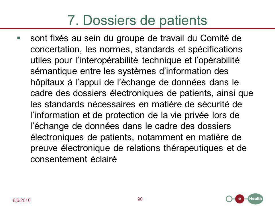 90 8/6/2010 7. Dossiers de patients  sont fixés au sein du groupe de travail du Comité de concertation, les normes, standards et spécifications utile