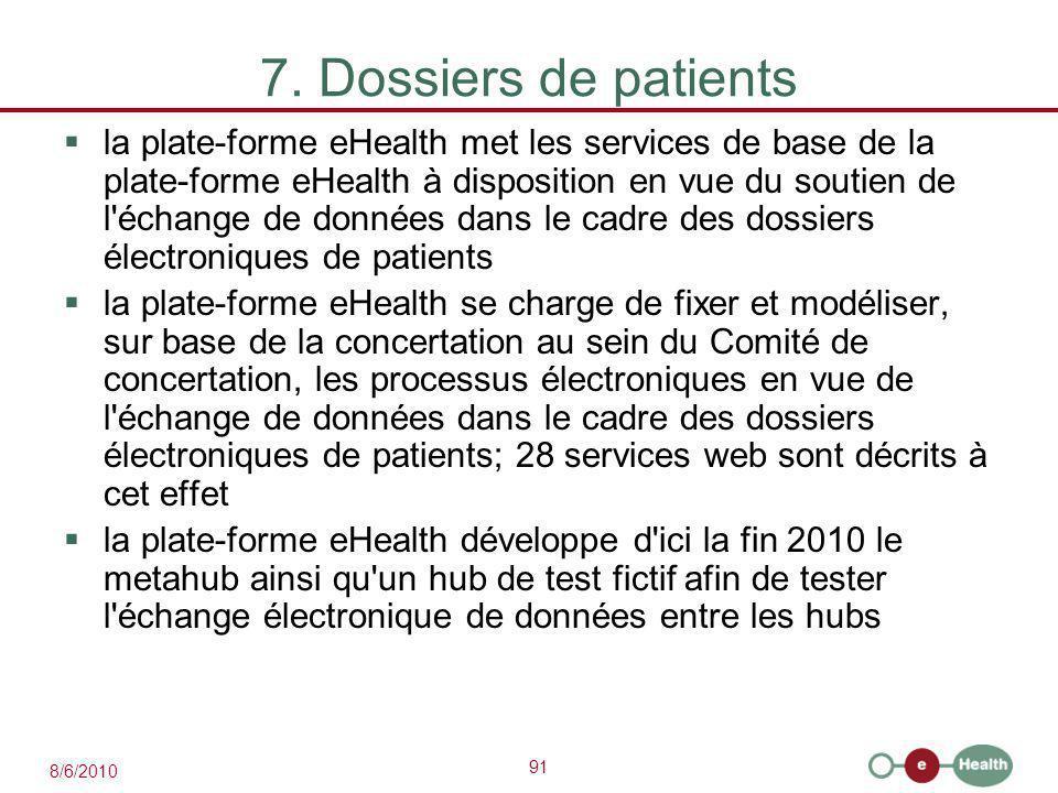 91 8/6/2010 7. Dossiers de patients  la plate-forme eHealth met les services de base de la plate-forme eHealth à disposition en vue du soutien de l'é