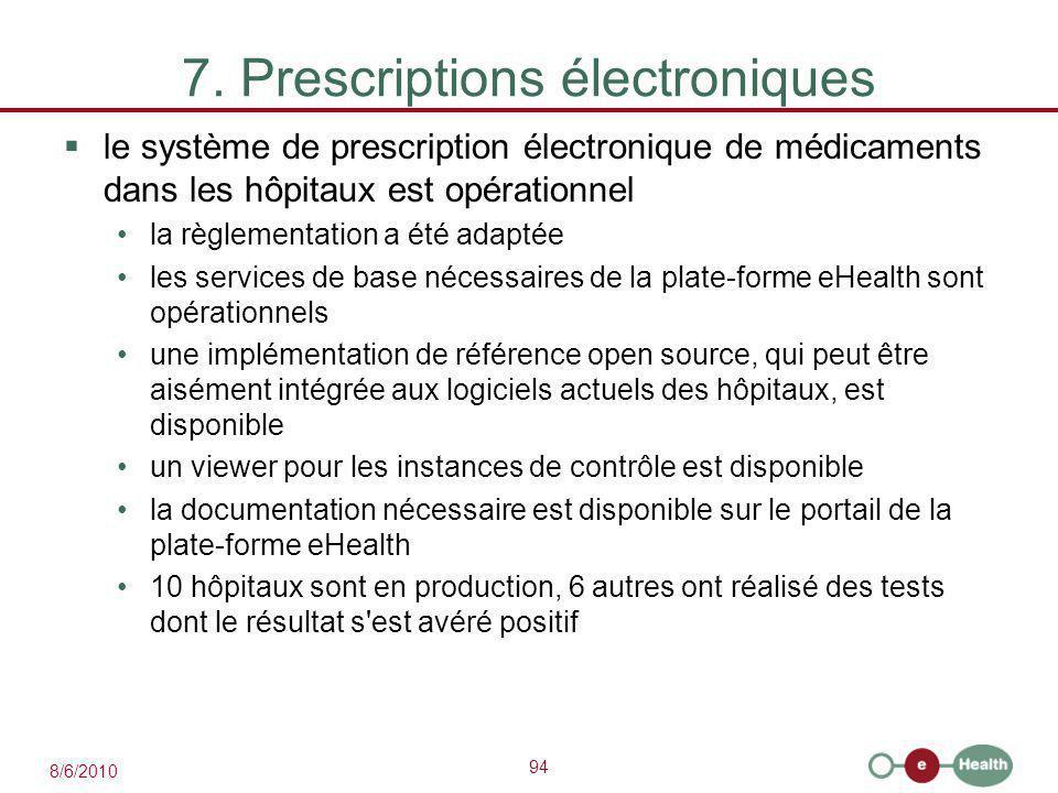 94 8/6/2010 7. Prescriptions électroniques  le système de prescription électronique de médicaments dans les hôpitaux est opérationnel la règlementati