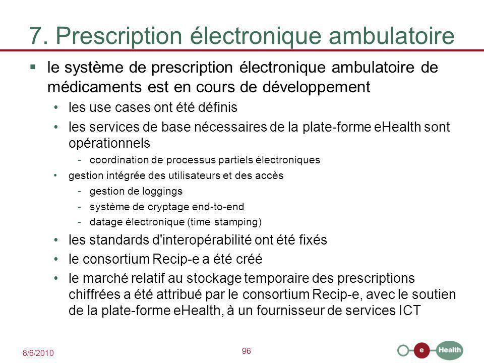 96 8/6/2010 7. Prescription électronique ambulatoire  le système de prescription électronique ambulatoire de médicaments est en cours de développemen