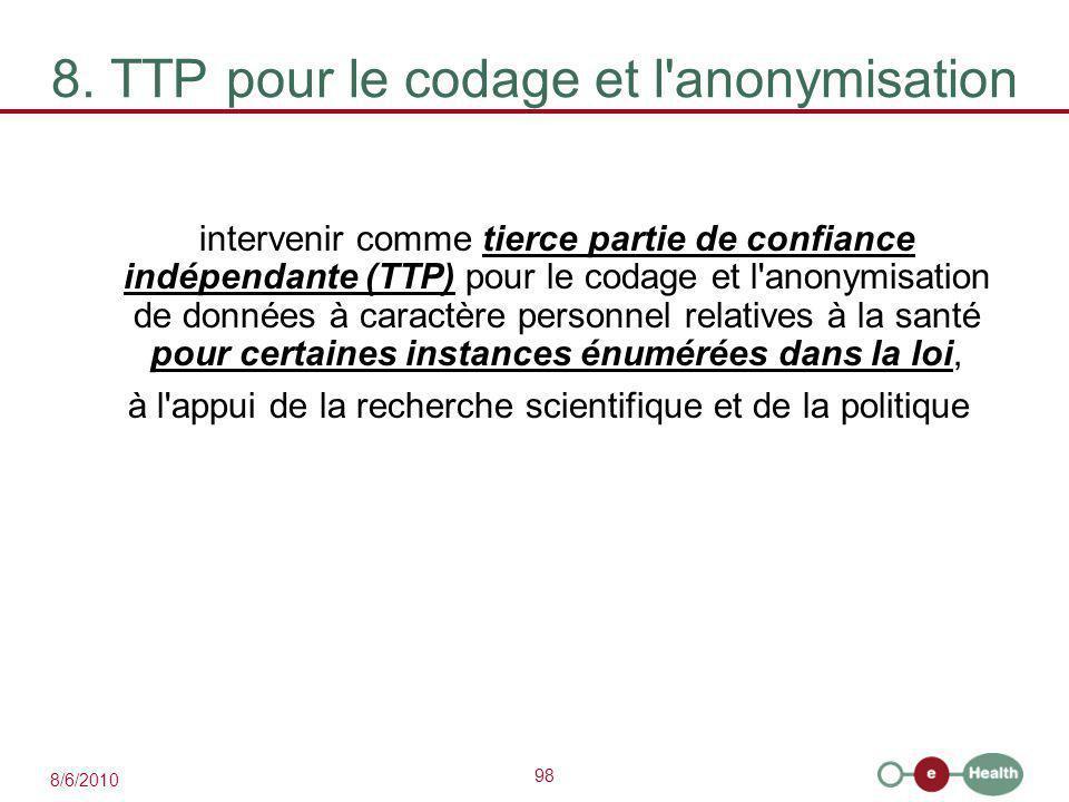98 8/6/2010 8. TTP pour le codage et l'anonymisation intervenir comme tierce partie de confiance indépendante (TTP) pour le codage et l'anonymisation
