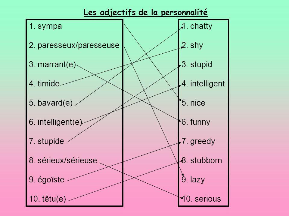 1. sympa 2. paresseux/paresseuse 3. marrant(e) 4. timide 5. bavard(e) 6. intelligent(e) 7. stupide 8. sérieux/sérieuse 9. égoïste 10. têtu(e) 1. chatt