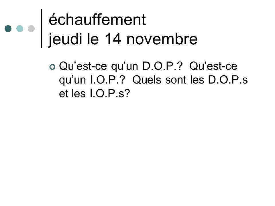 échauffement jeudi le 14 novembre Qu'est-ce qu'un D.O.P.? Qu'est-ce qu'un I.O.P.? Quels sont les D.O.P.s et les I.O.P.s?