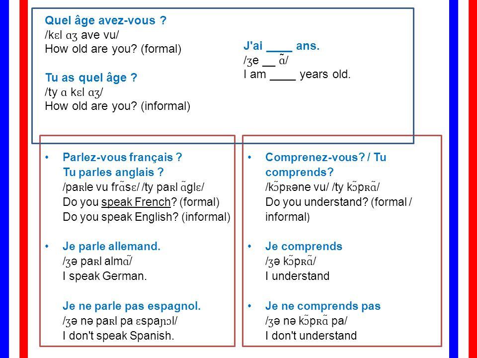 Parlez-vous français .Tu parles anglais . /paʀle vu frɑ̃sɛ/ /ty paʀl ɑ̃glɛ/ Do you speak French.