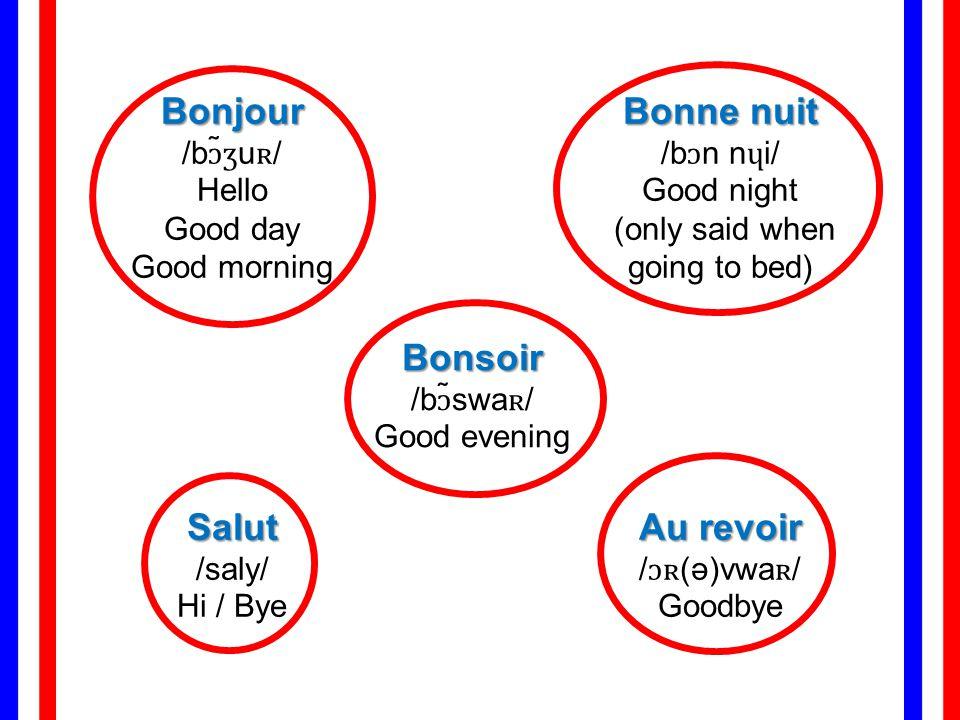 Bonjour Bonjour /bɔ̃ʒuʀ/ Hello Good day Good morning Bonne nuit Bonne nuit /bɔn nɥi/ Good night (only said when going to bed) Bonsoir Bonsoir /bɔ̃swaʀ/ Good evening Salut Salut /saly/ Hi / Bye Au revoir Au revoir /ɔʀ(ə)vwaʀ/ Goodbye