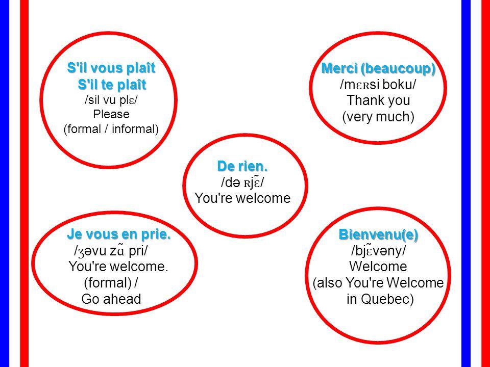 S il vous plaît S il te plaît S il te plaît /sil vu plɛ/ Please (formal / informal) Merci (beaucoup) Merci (beaucoup) /mɛʀsi boku/ Thank you (very much) De rien.