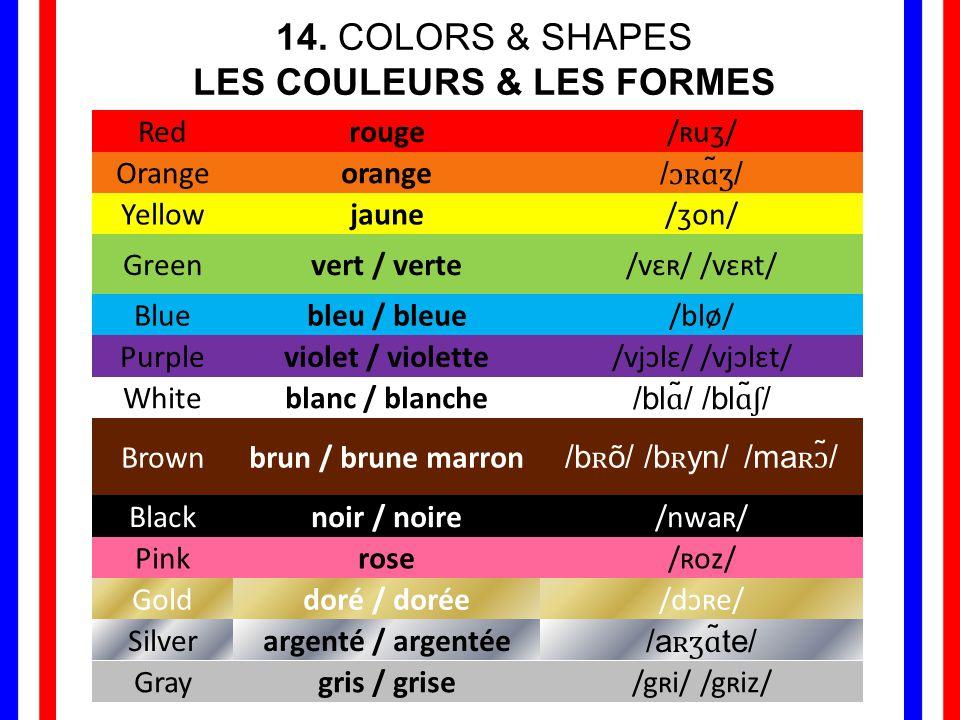 14. COLORS & SHAPES LES COULEURS & LES FORMES Redrouge/ʀuʒ/ Orangeorange/ɔʀɑ̃ʒ/ Yellowjaune/ʒon/ Greenvert / verte/vɛʀ/ /vɛʀt/ Bluebleu / bleue/blø/ P