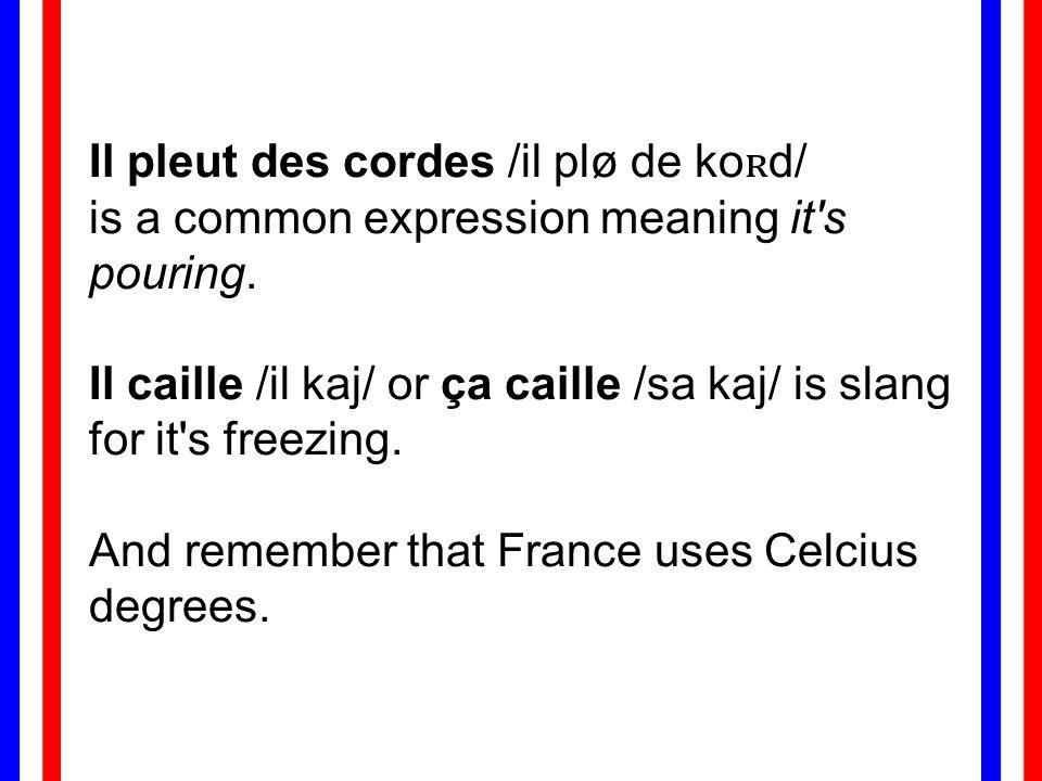 Il pleut des cordes /il plø de ko ʀ d/ is a common expression meaning it s pouring.
