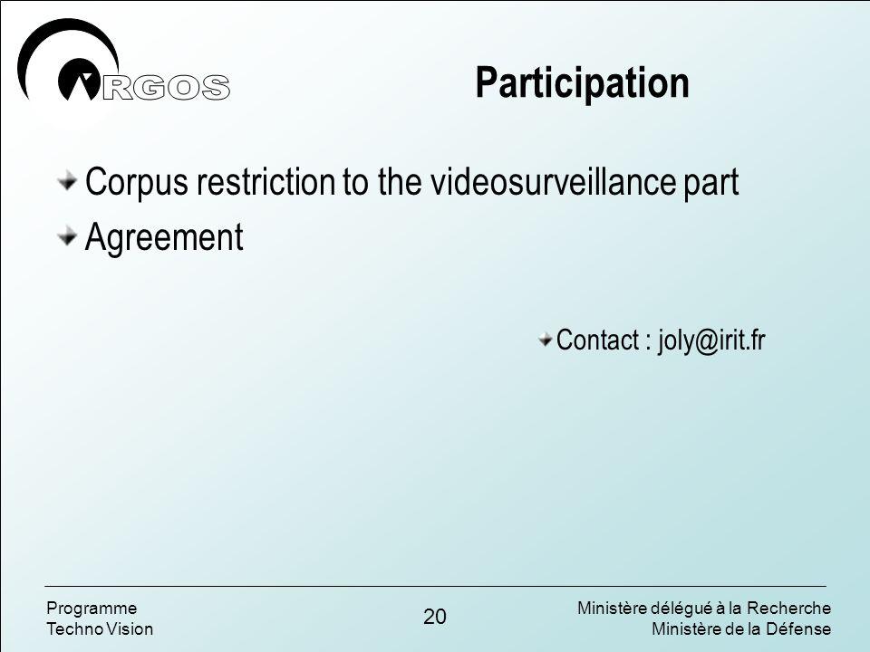 Ministère délégué à la Recherche Ministère de la Défense 20 Programme Techno Vision Participation Corpus restriction to the videosurveillance part Agreement Contact : joly@irit.fr